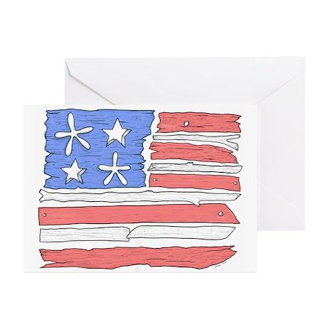 Beach Flag USA Greeting Cards (Pk of 10)
