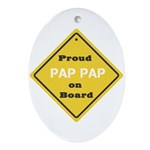 Proud PapPap on Board Oval Ornament