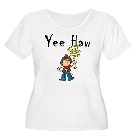 Yee Haw Cowboy Women's Plus Size Scoop Neck T-Shir