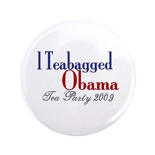 "Teabag Obama (Tea Party) 3.5"" Button"