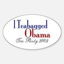 Teabag Obama (Tea Party) Oval Decal