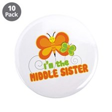 """Middle Sister Butterfly 3.5"""" Button (10 pack)"""