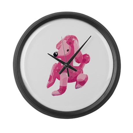 Pink Poodle Large Wall Clock