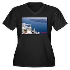 Cute Santorini Women's Plus Size V-Neck Dark T-Shirt