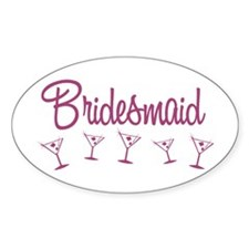 Pink M Martini Bridesmaid Oval Decal