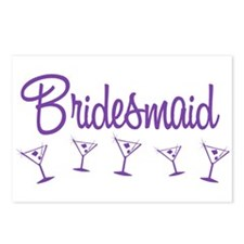 Purple M Martini Bridesmaid Postcards (Package of