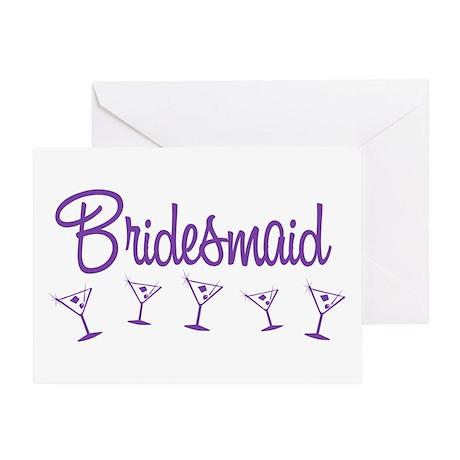 Purple M Martini Bridesmaid Greeting Card