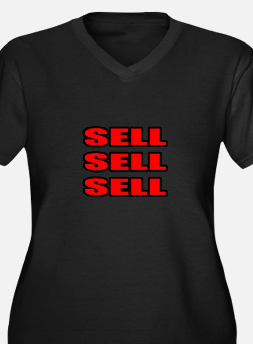 """""""Sell Sell Sell"""" Women's Plus Size V-Neck Dark T-S"""