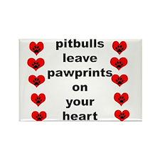 pit bull pawprints Rectangle Magnet