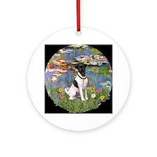 Monet's Lilies & Fox Terrier Ornament (Round)