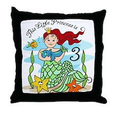 Mermaid Princess 3rd Birthday Throw Pillow