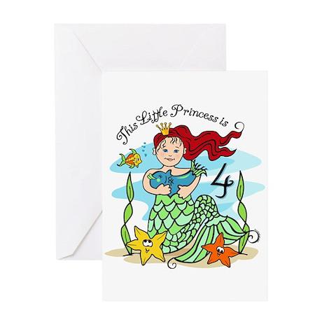 Mermaid Princess 4th Birthday Card
