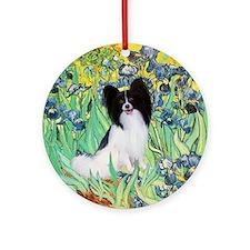 Van Gogh's Irises & Papillon Ornament (Round)