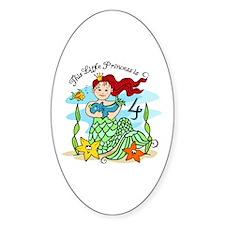 Mermaid Princess 4th Birthday Oval Decal