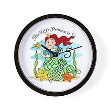 Mermaid Princess 5th Birthday Wall Clock