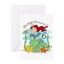 Mermaid Princess 6th Birthday Card
