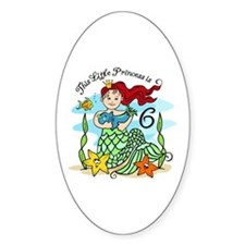 Mermaid Princess 6th Birthday Oval Decal