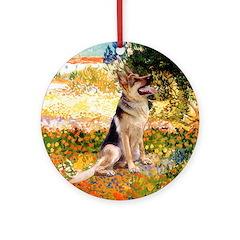 Garden & German Shepherd Ornament (Round)
