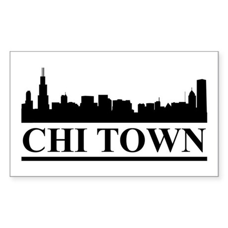 Chicago Skyline Chi Town Rectangle Sticker
