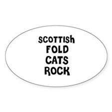 SCOTTISH FOLD CATS ROCK Oval Decal
