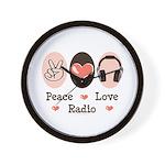 Peace Love Radio Wall Clock