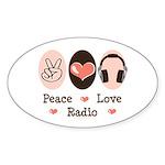 Peace Love Radio Oval Sticker