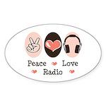 Peace Love Radio Oval Sticker (50 pk)
