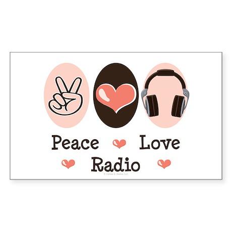 Peace Love Radio Rectangle Sticker
