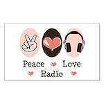 Peace Love Radio Rectangle Sticker 10 pk)