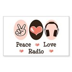 Peace Love Radio Rectangle Sticker 50 pk)