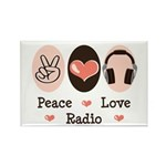 Peace Love Radio Rectangle Magnet (100 pack)