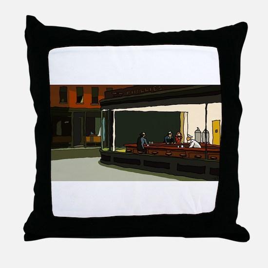 Nighthawks - S.F. Masterpiece Throw Pillow