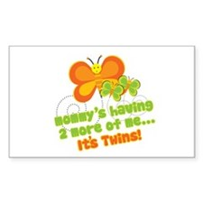 Twins On Way Butterfly Rectangle Decal