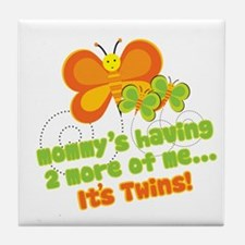 Twins On Way Butterfly Tile Coaster