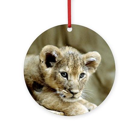 """Cute Lion Cub"" Ornament (Round)"