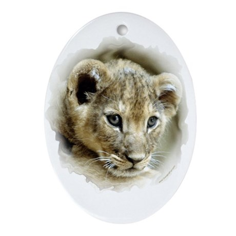 """Cute Lion Cub"" Oval Ornament"