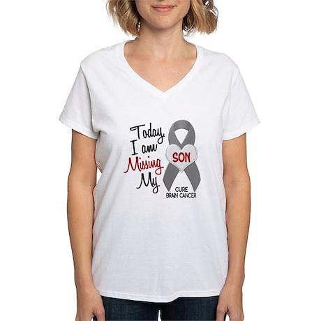 Missing 1 Son BRAIN CANCER Women's V-Neck T-Shirt