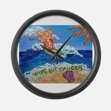 Wipe Out Cancer Angel Large Wall Clock