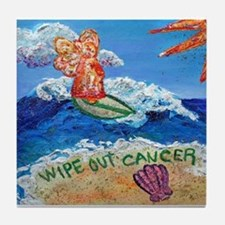 Wipe Out Cancer Angel Tile Coaster