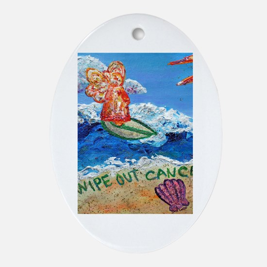 Wipe Out Cancer Angel Oval Ornament