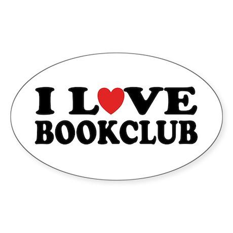 I Love Book Club Oval Sticker