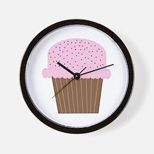 Pink Cupcake Wall Clock