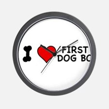 I Love First Dog Bo Wall Clock