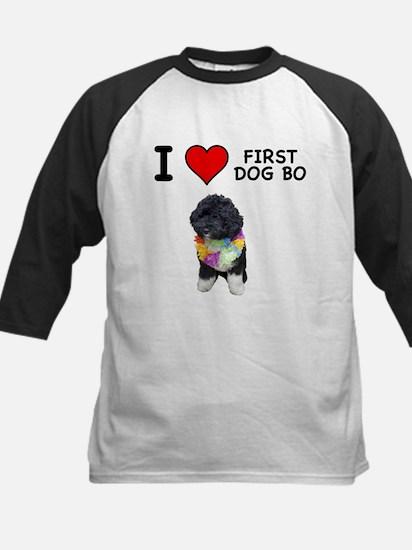 I Love First Dog Bo Kids Baseball Jersey