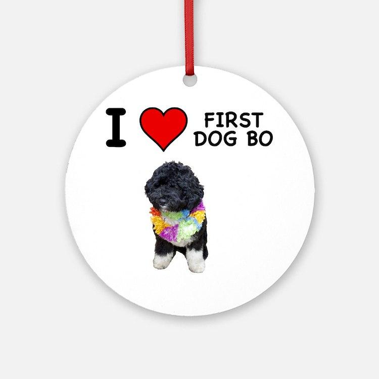 I Love First Dog Bo Ornament (Round)