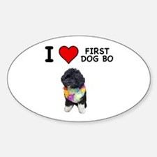 I Love First Dog Bo Oval Decal