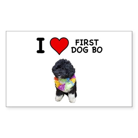I Love First Dog Bo Rectangle Sticker