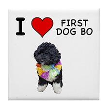 I Love First Dog Bo Tile Coaster