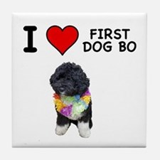 I Love First Dog Bo Tile Coaster