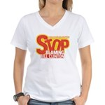 Stop Blaming Clinton Women's V-Neck T-Shirt